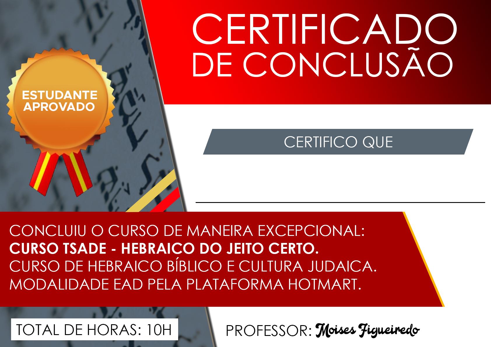 Certificado Curso Tsade - Hebraico do Jeito Certo