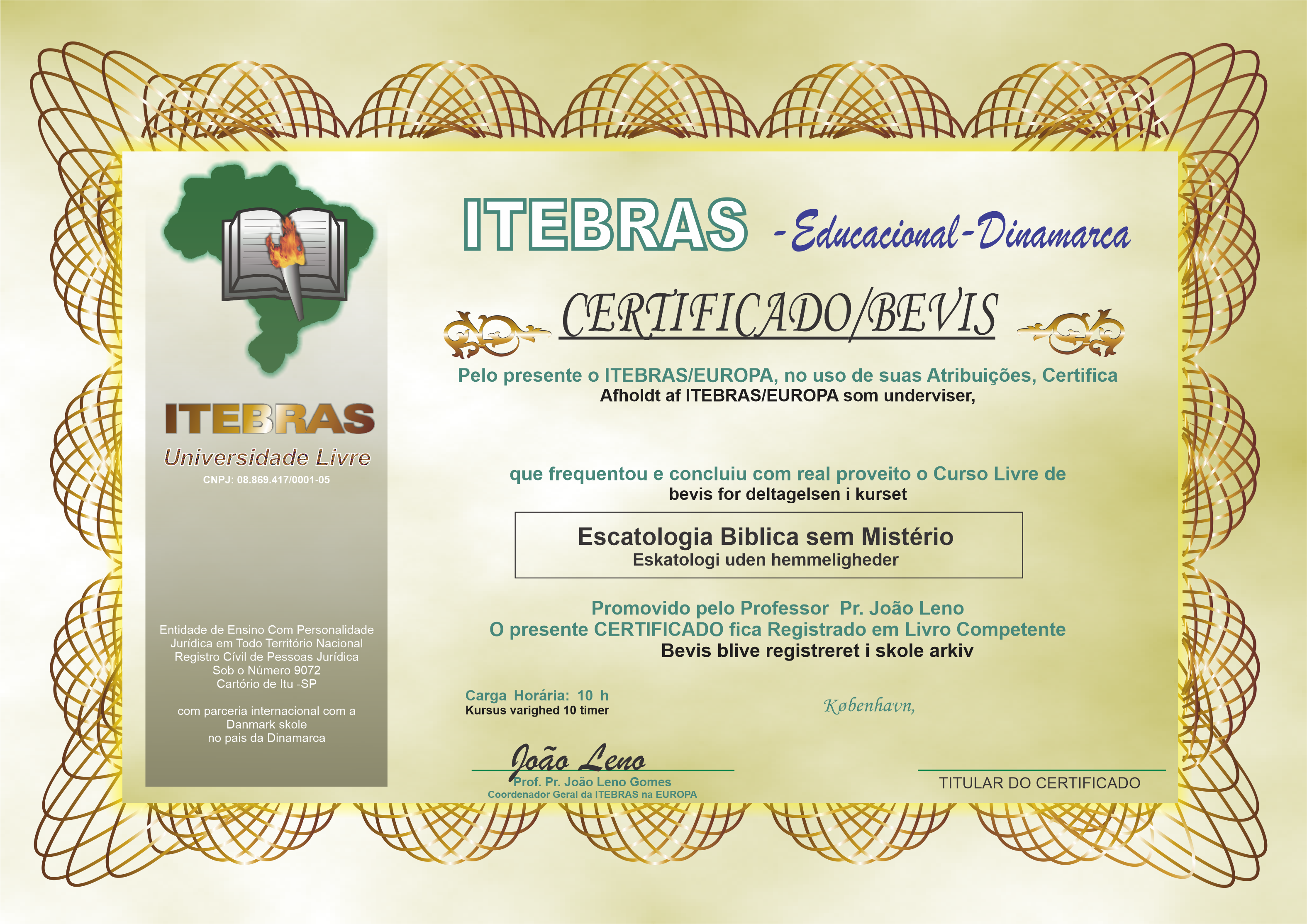 Curso de Escatologia - Certificado
