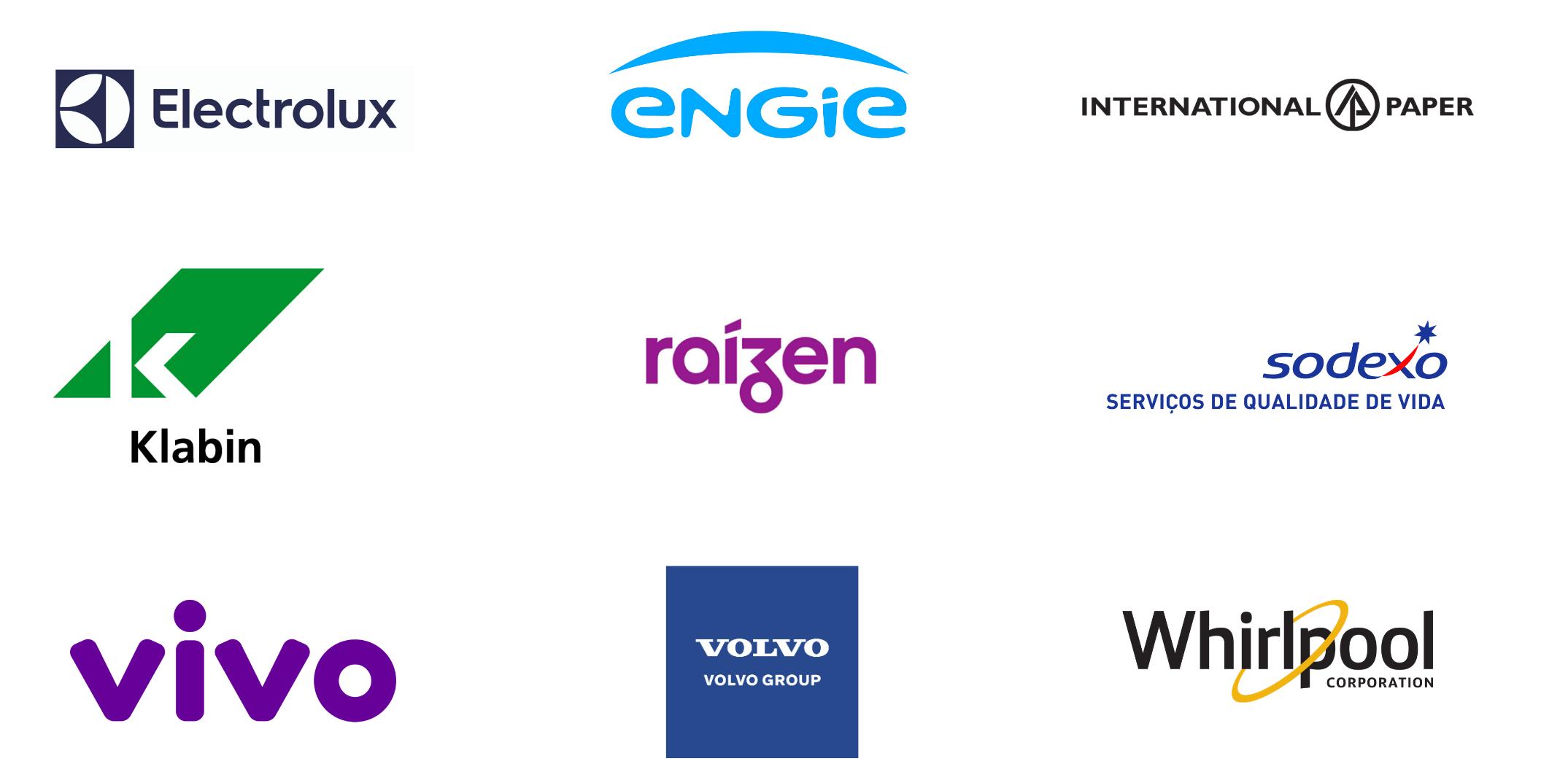 Vivo, Raízen, International Paper, Engie, Volvo Group, Klabin, Whirlpool e Electrolux