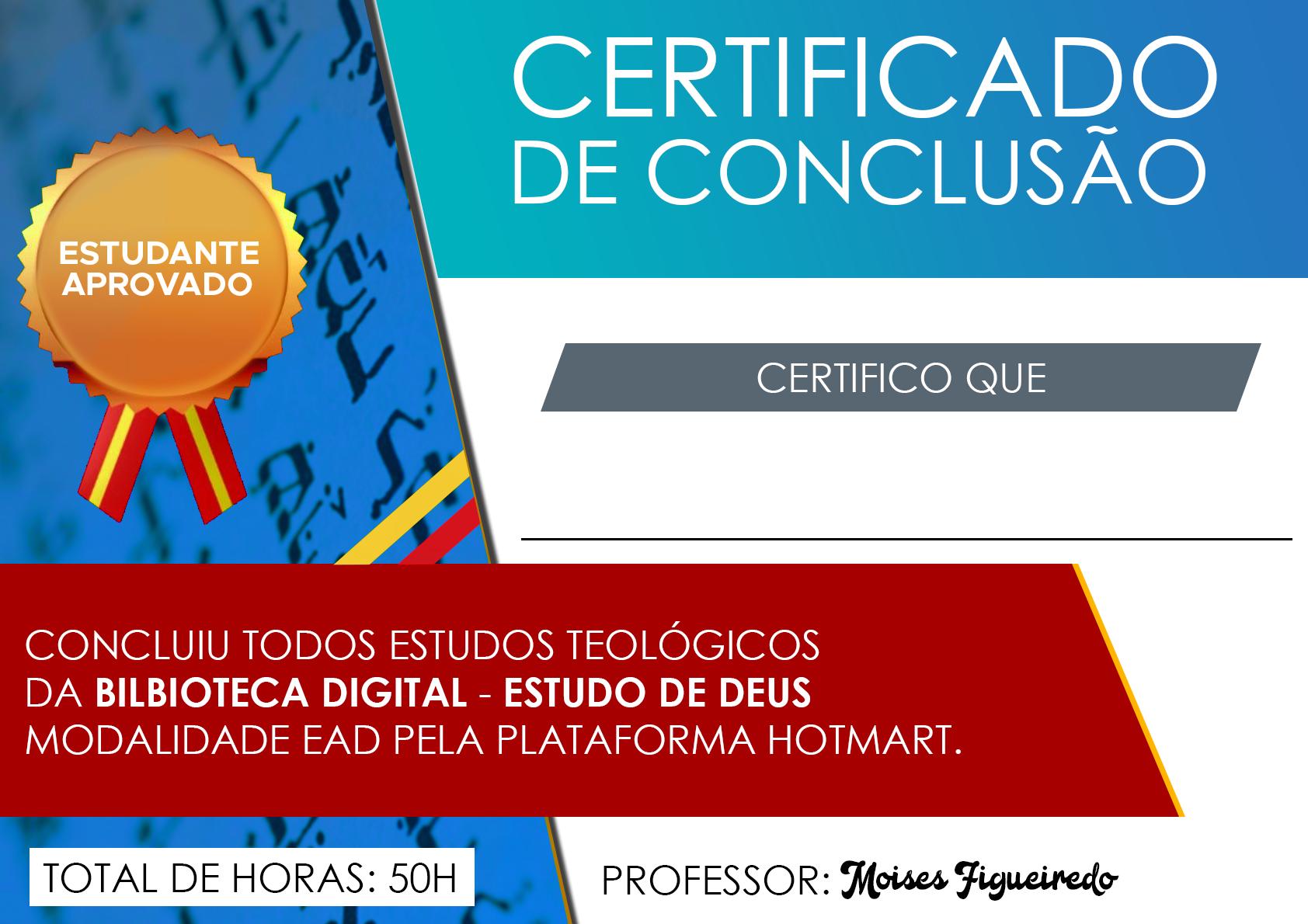 Certificado da biblioteca Estudo de Deus