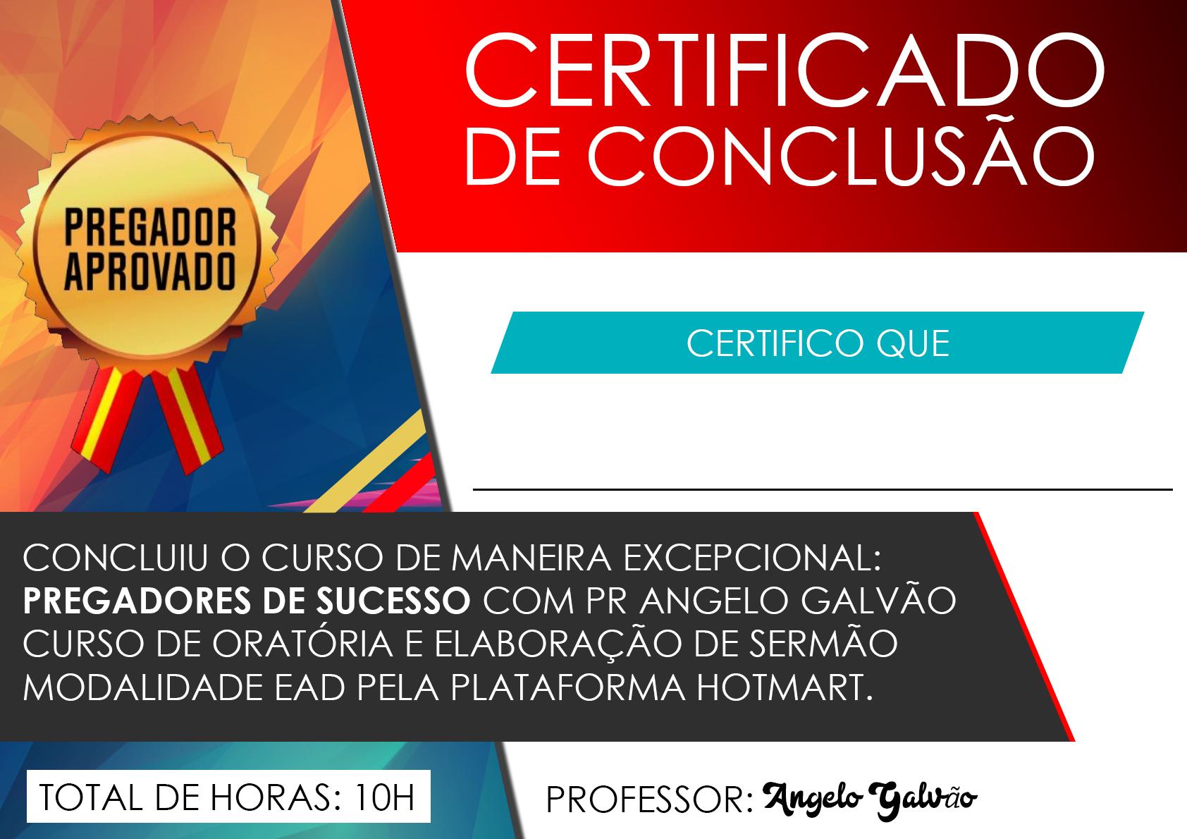 Certificado Pregadores de Sucesso