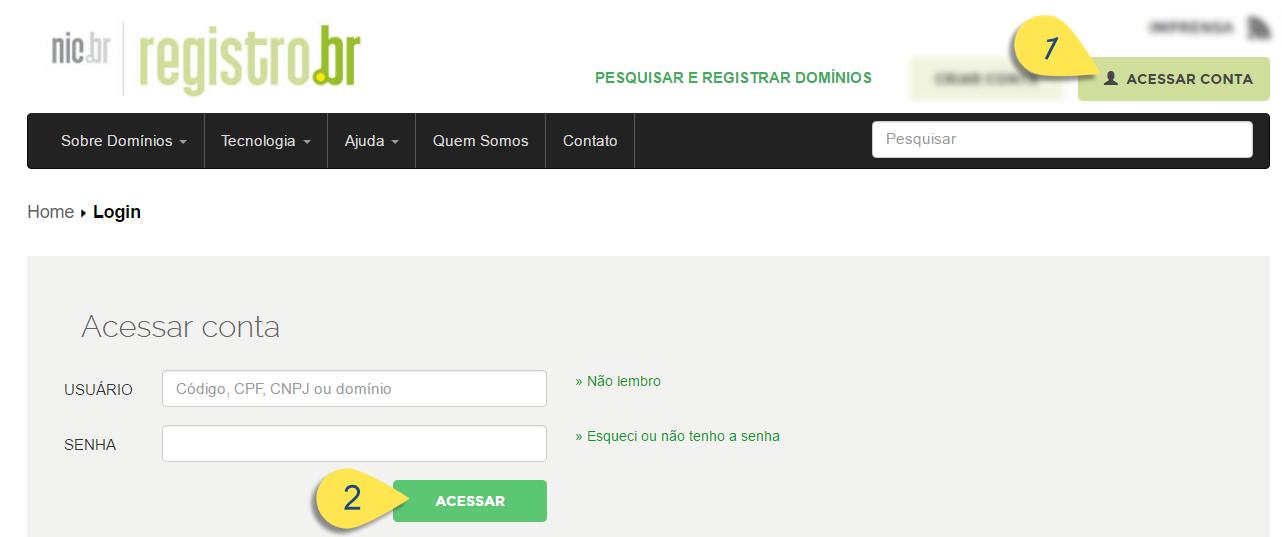 Fazendo login em conta do Registro.br