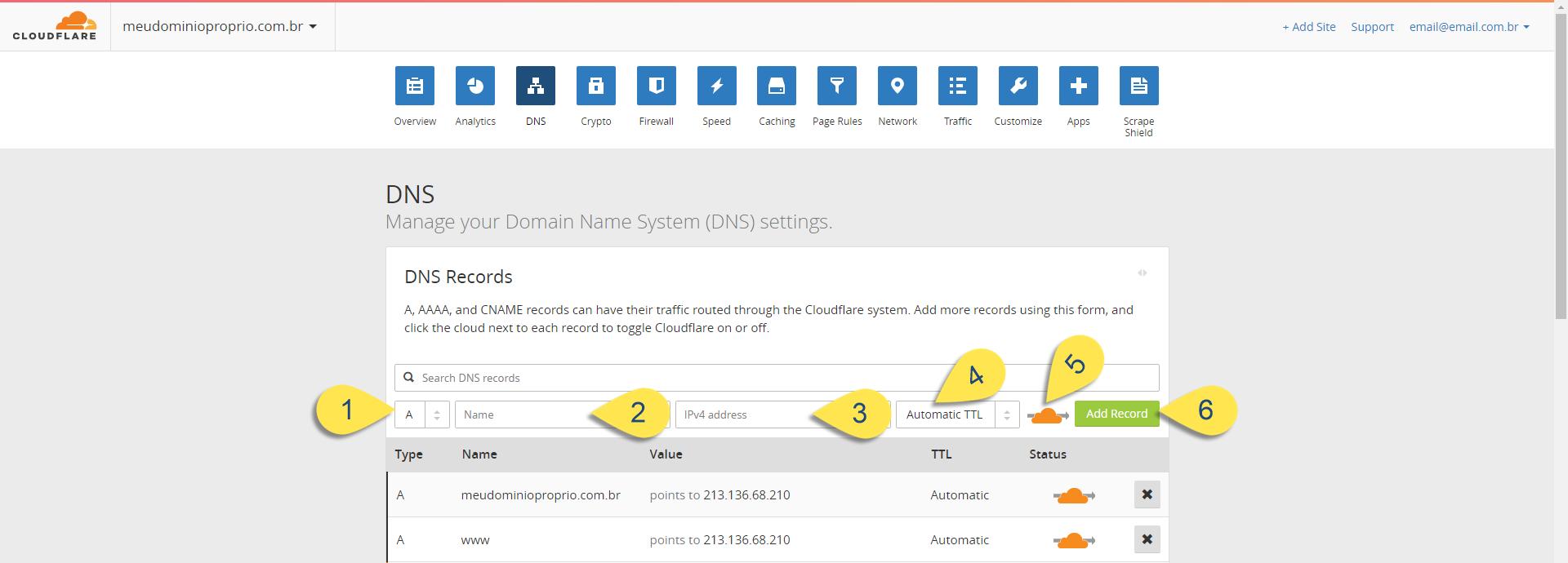 Como configurar Domínio ou Subdomínio no CloudFlare