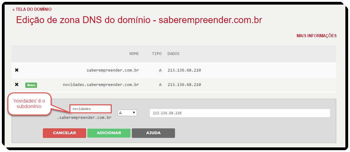 Exemplo feito em painel do Registro.br