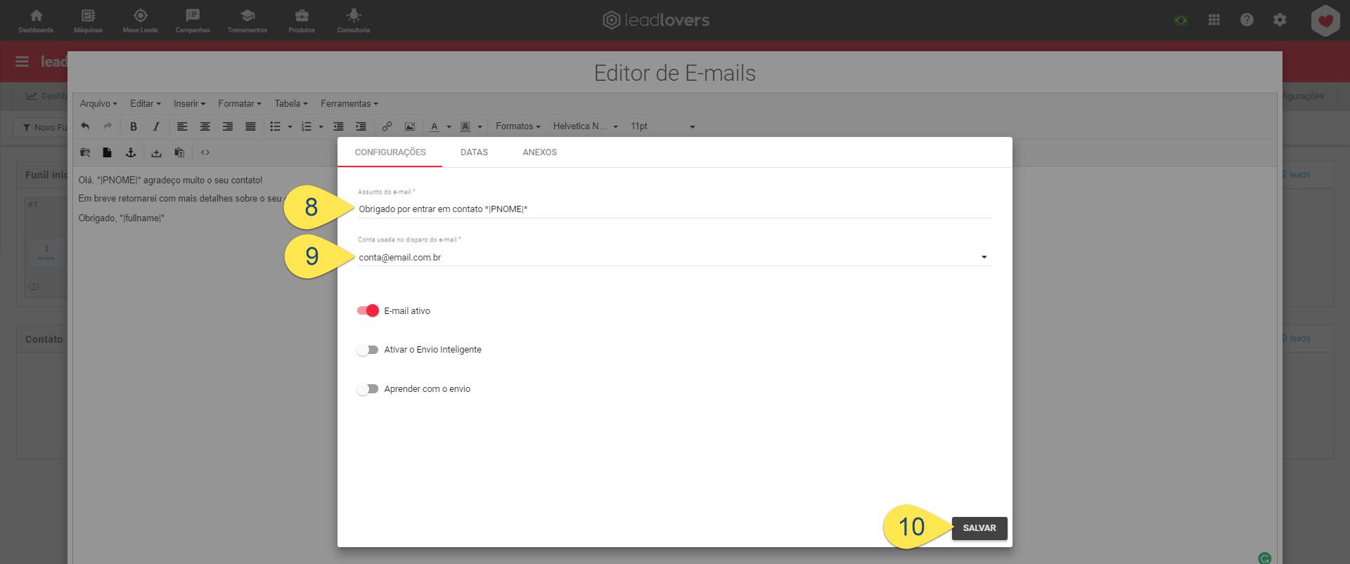 configurando o e-mail
