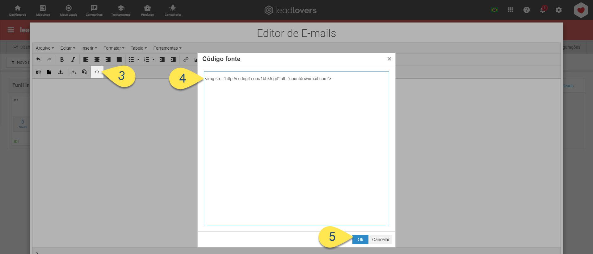 Acessando edição em HTML do email