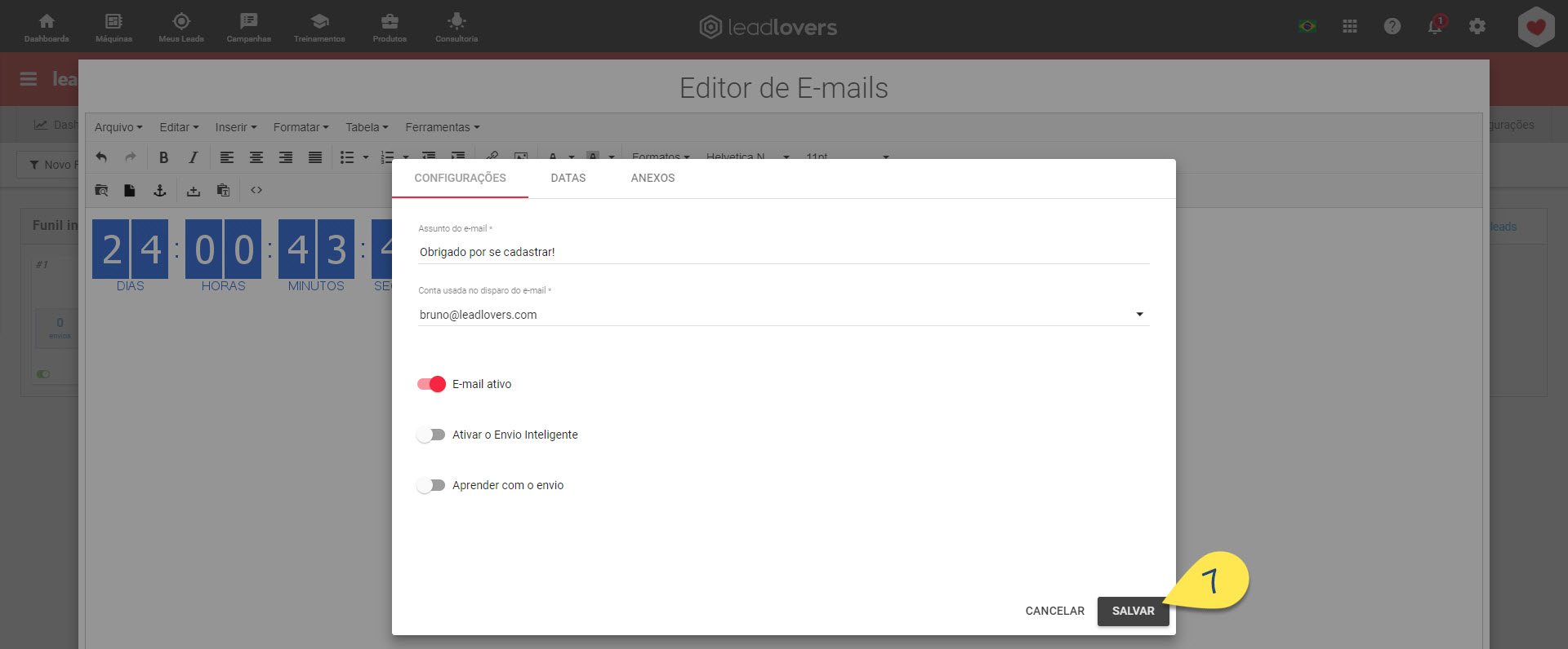 Concluindo edição do e-mail
