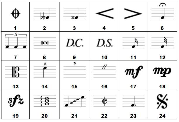 Repeat Sign 1st And 2nd Endings Ties Musical Symbols